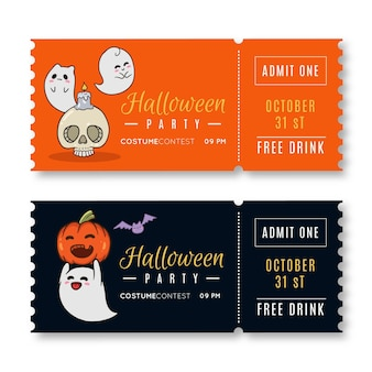 Hand drawn halloween tickets template