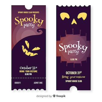Hand drawn halloween tickets with carved pumpkin