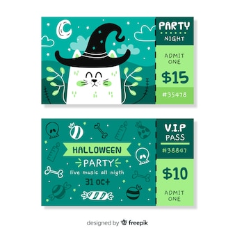 Hand drawn halloween tickets with cat wearing a hat