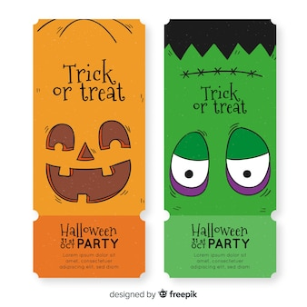 Hand drawn halloween tickets with pumpkin and frankenstein