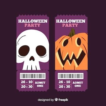 Hand drawn halloween tickets with skull and pumpkin