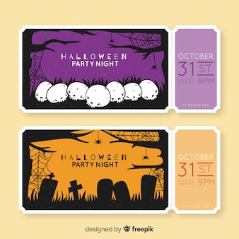 Hand drawn halloween tickets with skulls and tombstones