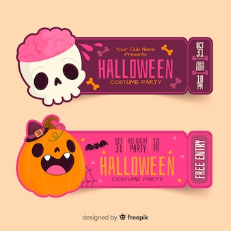 Hand drawn halloween tickets