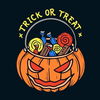 Hand drawn halloween trick or treat bag pumpkin illustration