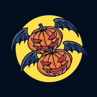 Hand drawn halloween twin flying pumpkins illustration