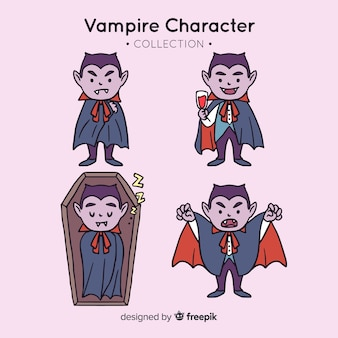 Hand drawn halloween vampire character collection