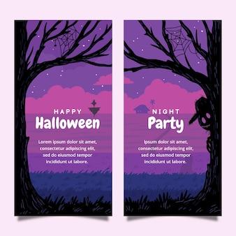 Set di banner verticali di halloween disegnati a mano