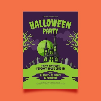 Hand drawn halloween vertical party flyer template