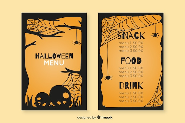 Hand drawn halloween vintage menu template
