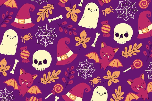 Hand-drawn halloween wallpaper