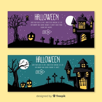 Hand drawn halloween web banner collection