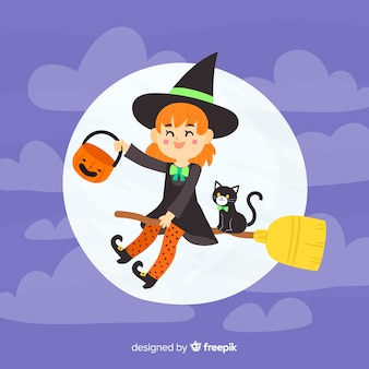 Hand drawn halloween witch background