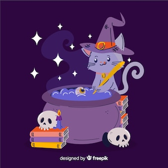 Hand drawn halloween witch cat