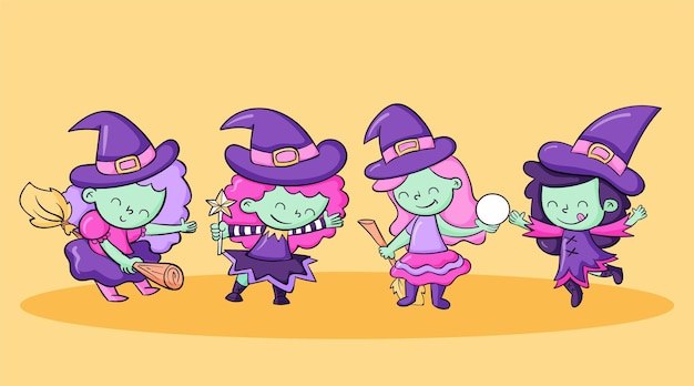 Hand drawn halloween witches collection