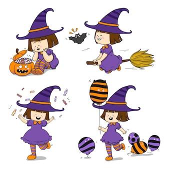 Collezione di streghe di halloween disegnata a mano