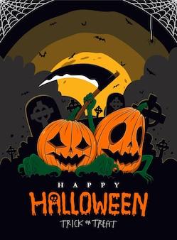 Hand drawn hallowen pumpkin in flat design