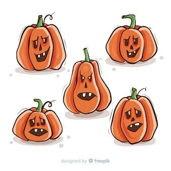 Hand drawn hallween pumpkin collection