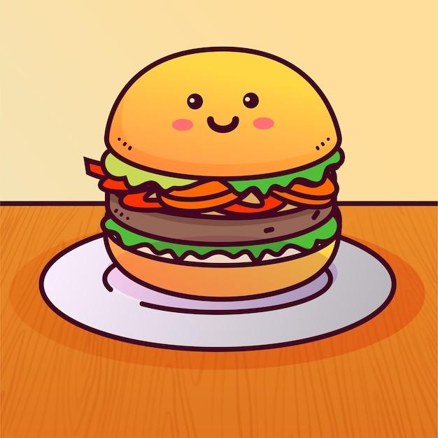 手描きのハンバーガーイラスト