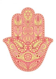 Hand drawn hamsa symbol.  hand of fatima