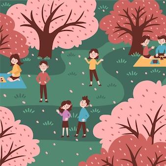 손으로 그린 하나미 사쿠라 축제와 공원에있는 사람들