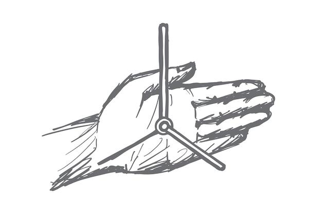 Нарисованный рукой эскиз концепции часов руки