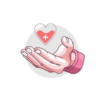 世界人道の日5に献血する手描きの手