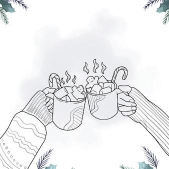 クリスマスの日のラインアートスタイルでホットチョコレートを飲む手描きの手