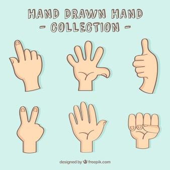 Mano set gesto disegnati a mano