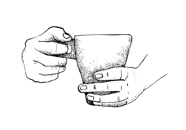 Hand drawn of hand holding a cup hot coffee
