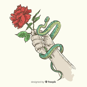 Hand drawn hand holding rose and snake background