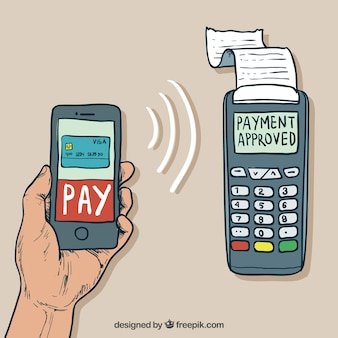 Hand drawn hand paying with smartphone