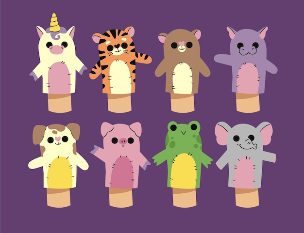 Hand drawn hand puppet set