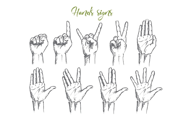 Hand drawn hand signs concept sketch
