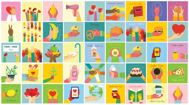 Hand-drawn hands hold different things, such as smartphone, pizza, ice cream, donut and others in the flat style