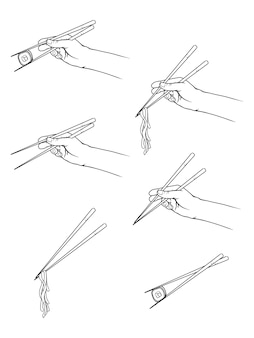 Hand drawn hands holding chopsticks with sushi, noodles. line art style