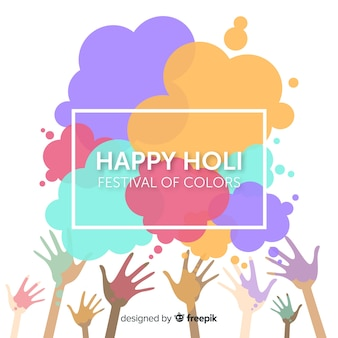 Hand drawn hands holi fesival background