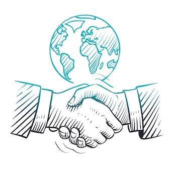 Рука нарисованные рукопожатие. концепция международного бизнеса с рукопожатием и глобусом. эскиз фона лидерства в глобальном партнерстве.