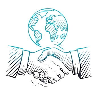 Hand drawn handshake. international business concept with handshaking and globe. sketch global partnership leadership background.
