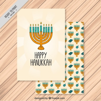 Hand-drawn hanukkah card with candelabra