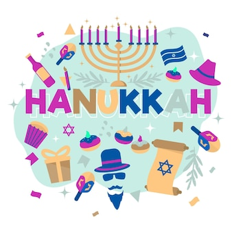 Hand drawn hanukkah concept
