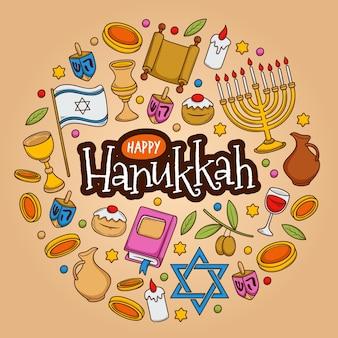Concetto di hanukkah disegnato a mano