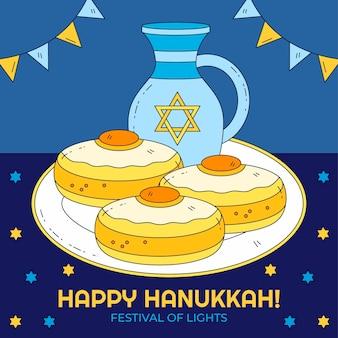 Illustrazione di hanukkah disegnata a mano