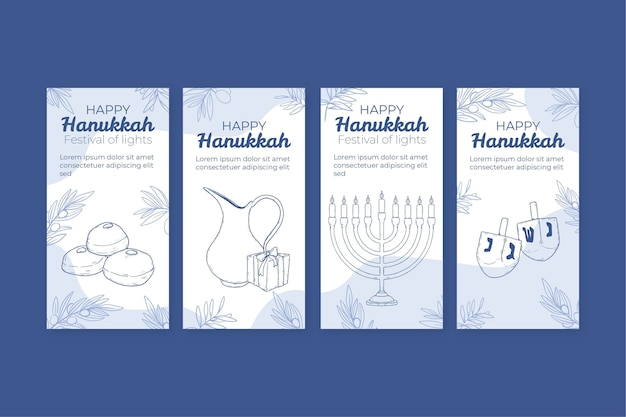 Collezione di storie di instagram di hanukkah disegnate a mano
