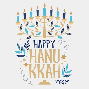 Hanukkah disegnato a mano con candele