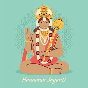Нарисованная рукой иллюстрация ханумана джаянти