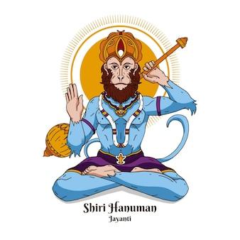 Hand drawn hanuman jayanti illustration