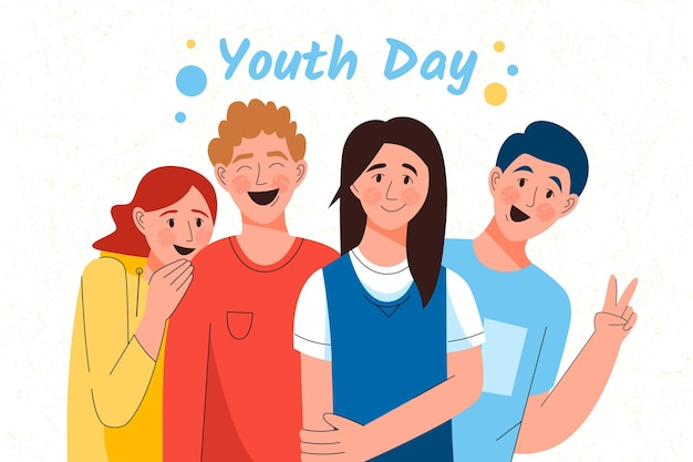 Hand drawn happiness of youth day event