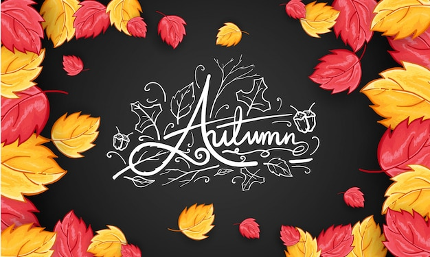 Hand drawn happy autumn greeting background