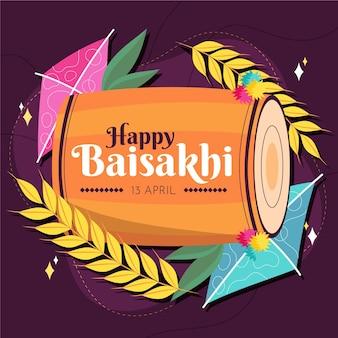 Illustrazione di baisakhi felice disegnata a mano