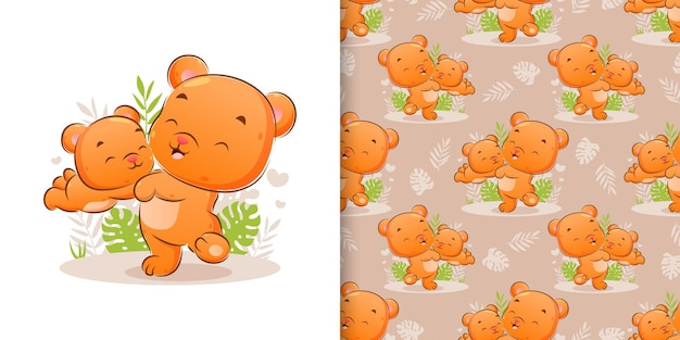 The hand drawn of happy bear is playing with the little bear in the garden of illustration